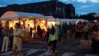 Arts beats and eats attendees mingle among the vendors