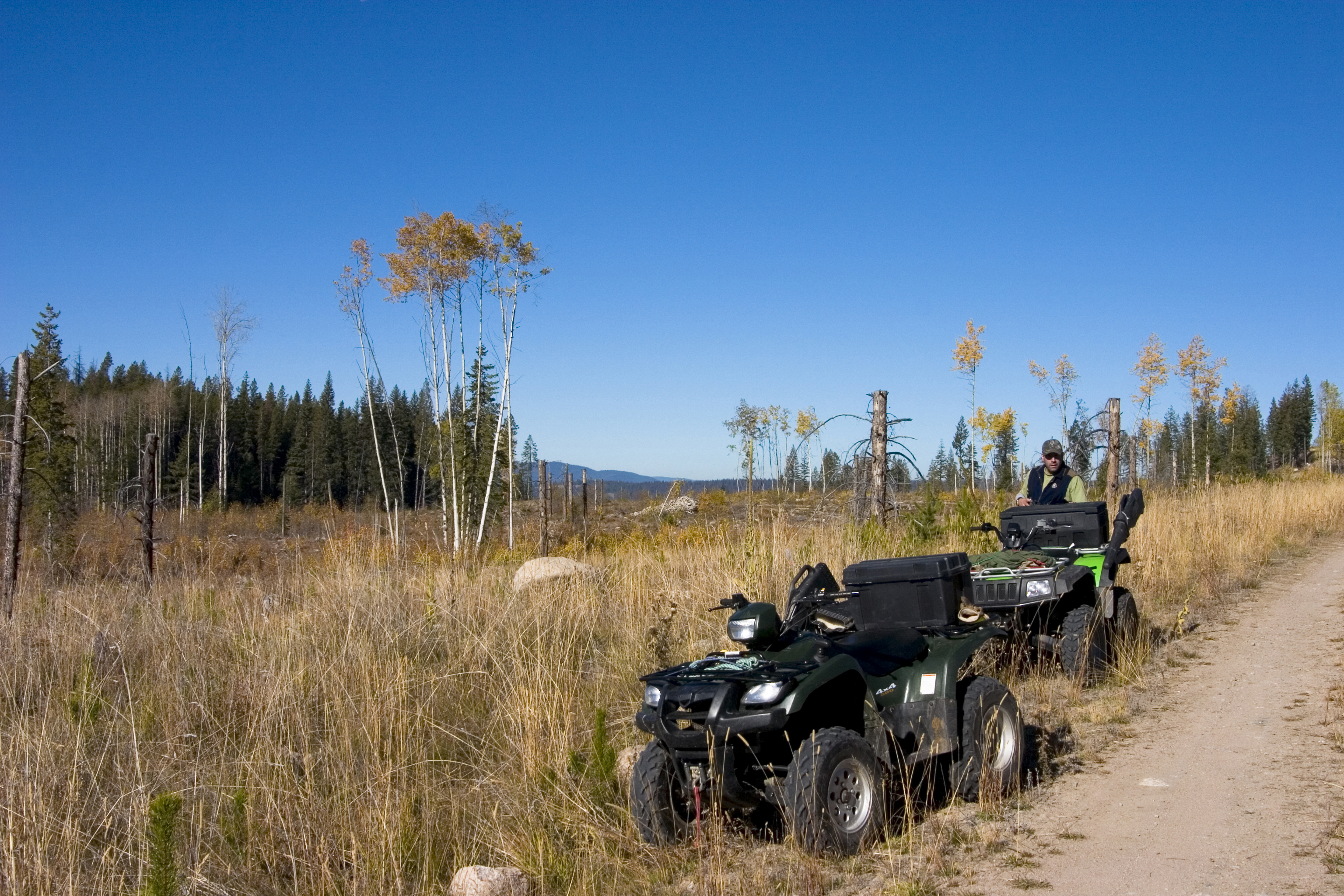 ATVs parked on the hunting field