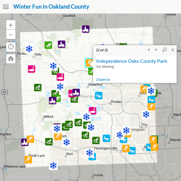 Winter Activities map