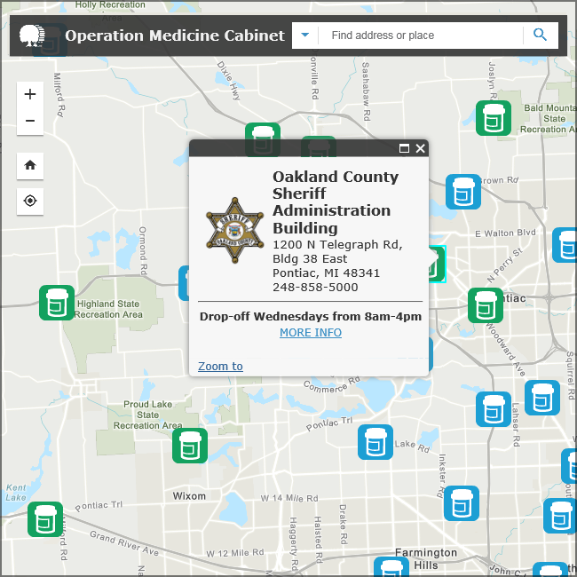A snapshot of the Operation Medicine Cabinet drop-off locations.
