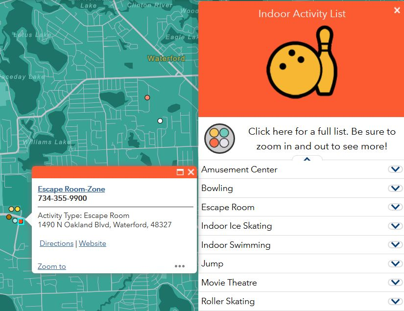 Map listing various indoor locations in Oakland County, such as bowling alleys, escape rooms, and movie theatres.