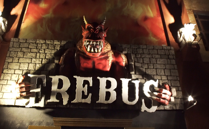 Erebus sign held by a demon