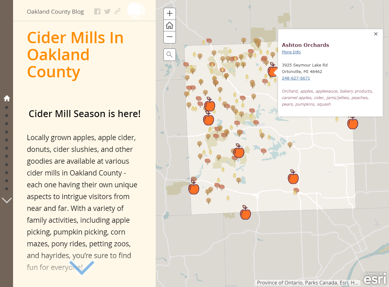 Image of story map that shows text on left side about ciders mills and a map on the right.