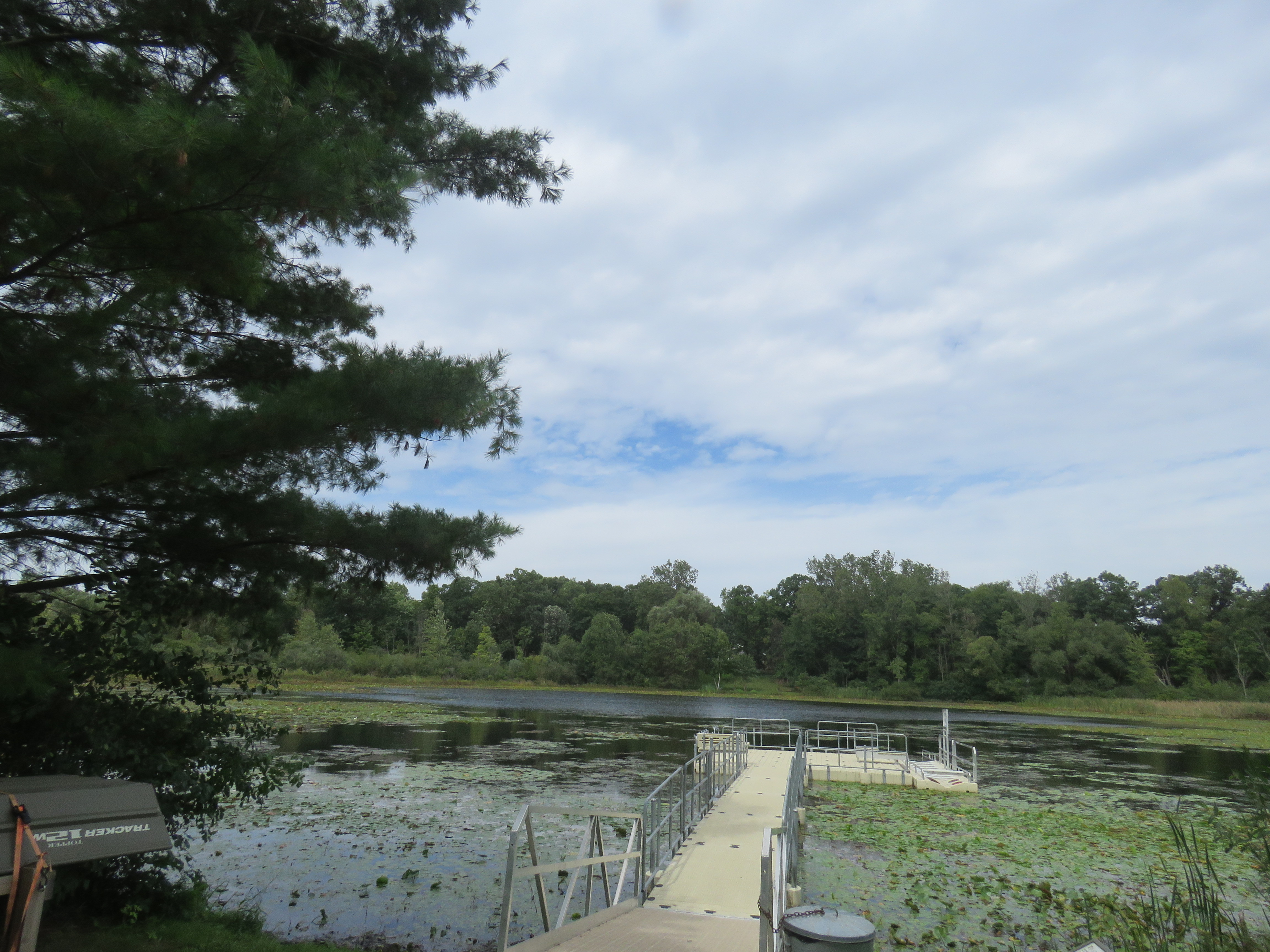 The dock and lake at Lost Lake Nature Preserve.