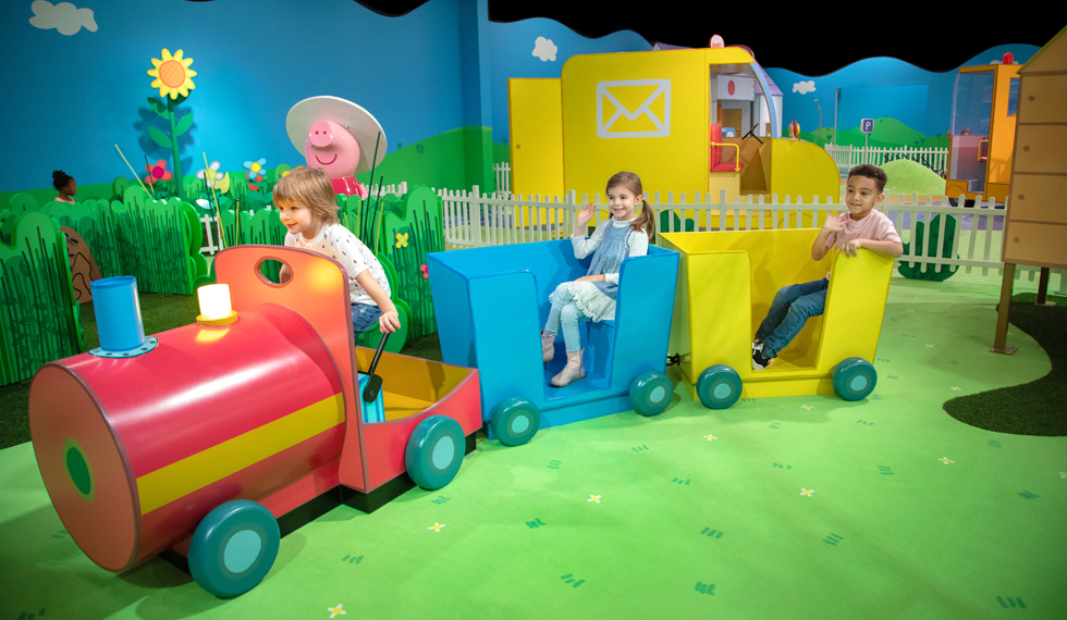 Children playing at Peppa Pig's World of Play at Great Lakes Crossing in Auburn Hills.