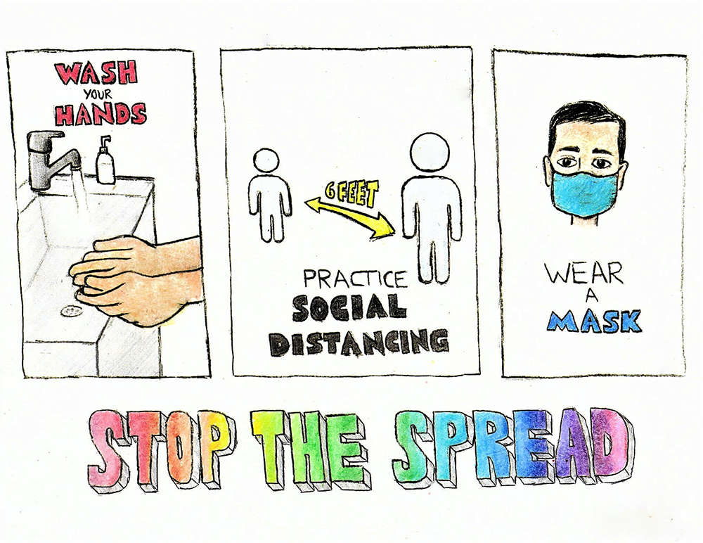 Stop the Spread Image With Wash Your Hands, Social Distancing and Wearing a mask potrayed.