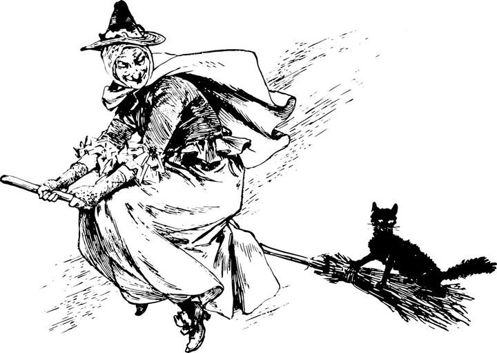 witch with black cat drawing