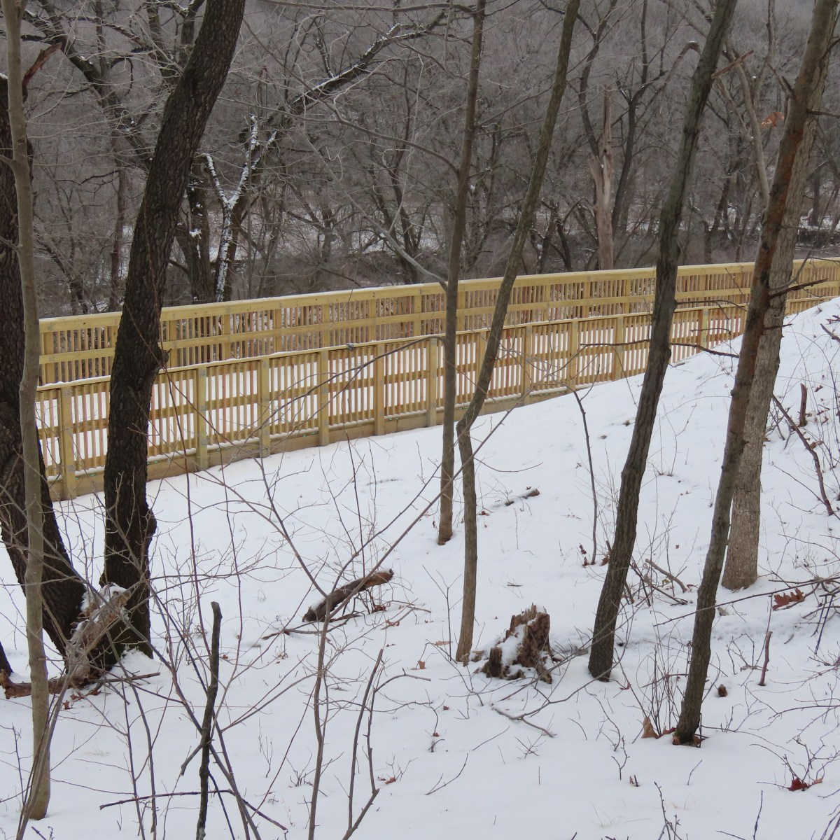 A bluff near a wooden boardwalk