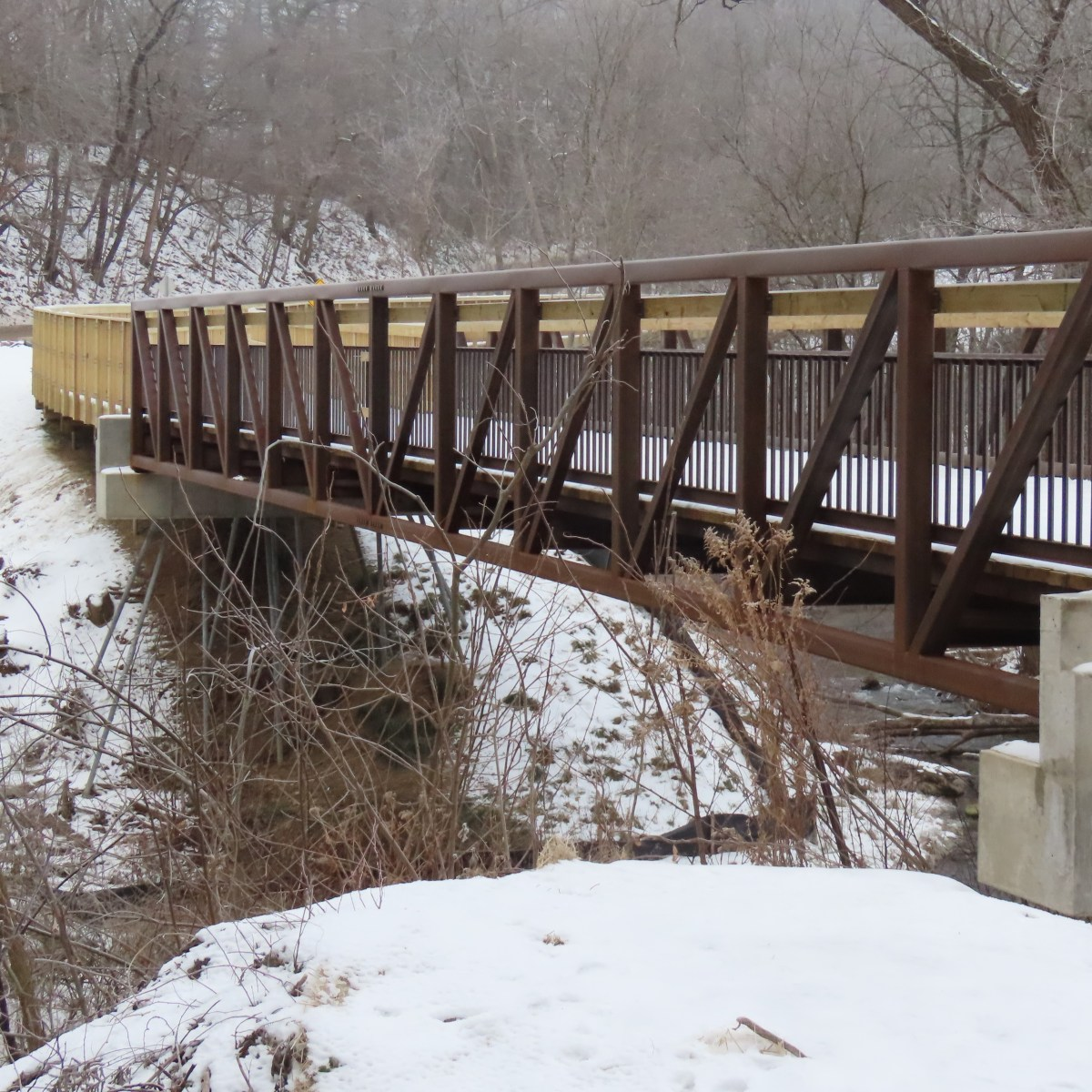 Steel bridge over a wide creek