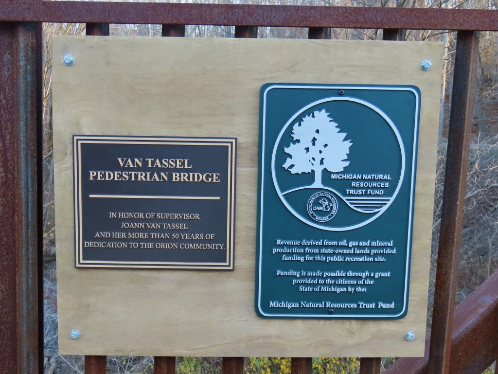 Van Tassel Pedestrian Bridge Dedication Sign