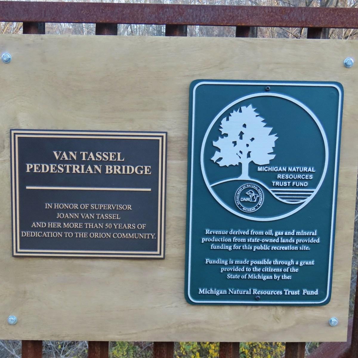 Van Tassel Pedestrian Bridge Dedication Sign