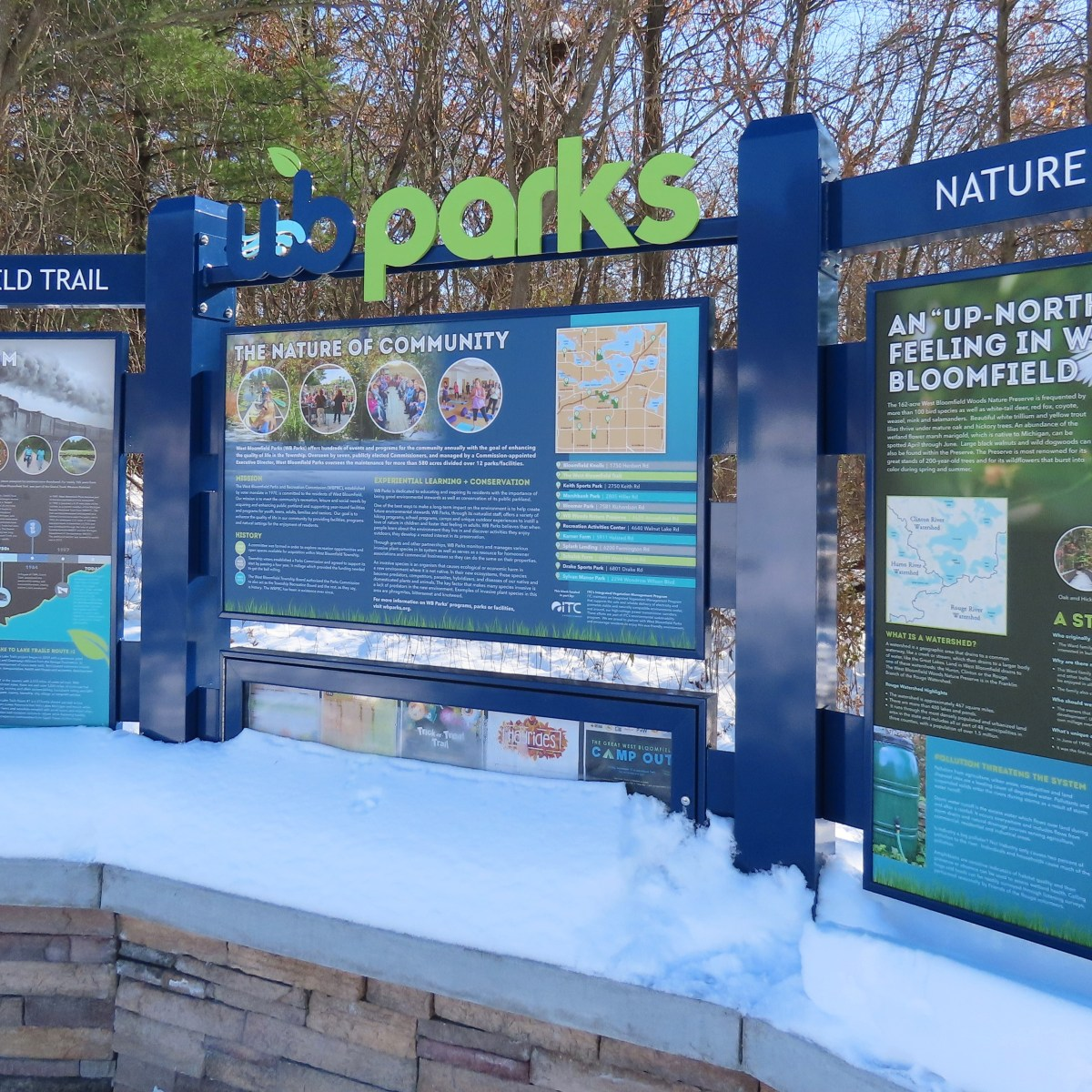 A curved 3-piece outdoor sign for West Bloomfield Parks with images and park details