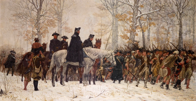 A painting depicting Revolutionary War soldiers at Valley Forge in the winter