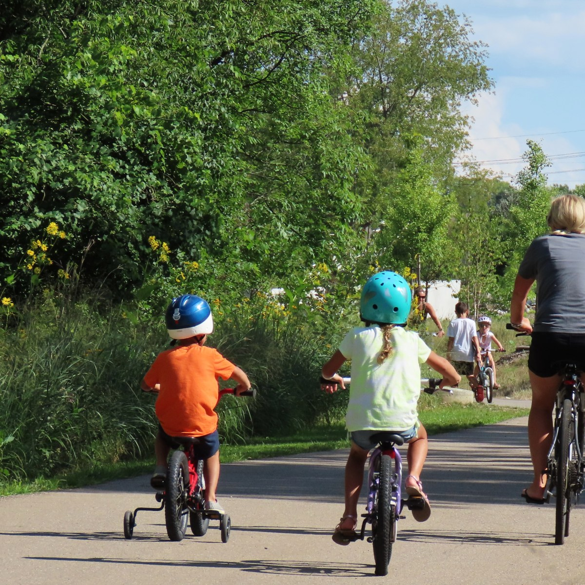 A woman and two children biking down a paved path, their backs are to the camera
